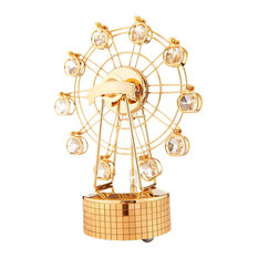 24K Gold Plated Music Box With Crystal Studded Ferris Wheel Figurine