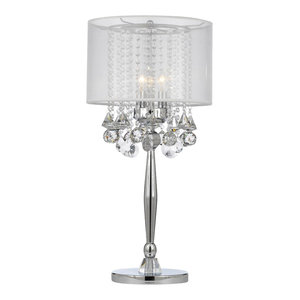 Silver Mist 3-Light Chrome Crystal Table Lamp With White Shade
