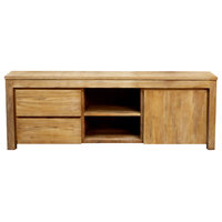 Recycled Teak Wood Solo Media Center, 2 Drawer and 1 Cabinet