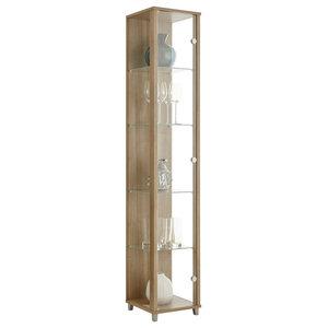 Vitrine Display Cabinet, 1 Door, 4 Shelves, Walnut