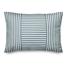 Blue Patchwork Stripe 14x20 Lumbar Pillow
