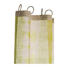Rain Tie Dye Linen Curtain With Eyelets, Olive Green