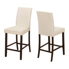 Leather-Look Counter Height Dining Chairs, Set of 2, Ivory