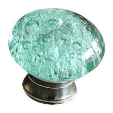 Glass Bubble Cabinet Knob -  Glass Drawer Knobs with SILVER hardware, Green