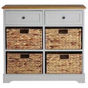 Traditional Storage Cabinet, Solid Wood With 2-Drawer and 4-Wicker Baskets, Grey