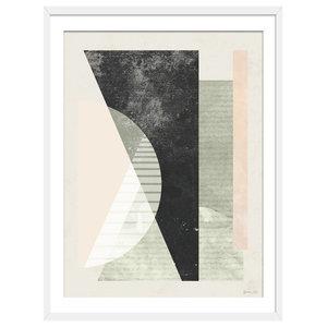 """In The Beginning"" Abstract Art Print, White Framed, 50x70 cm"