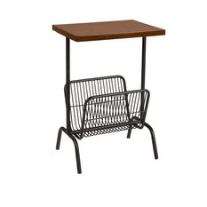 Transitional End Table Black Metal Base With Magazine Rack