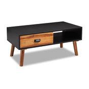 vidaXL Solid Acacia Wood Coffee Side Living Room End Table w/ Drawer Black