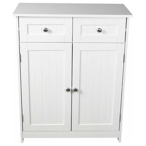 Floor Standing Storage Cabinet in MDF, 2 Doors and 2 Drawers, White Finish