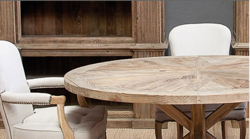 Mesa redonda madera envejecida 150x150x78 for Modelos de mesas redondas de madera