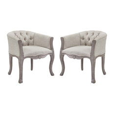 Crown Vintage French Upholstered Fabric Dining Armchair Set Of 2 Beige