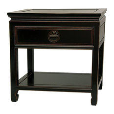 Oriental Furniture Rosewood Bedside Table In Antique Black Nightstands And Tables