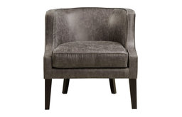 PRI Faux Leather Accent Arm Chair in Black