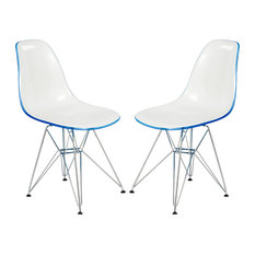 LeisureMod Cresco Molded 2-Tone Eiffel Base Side Chair, Set of 2, White/Blue