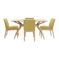 GDF Studio 5-Piece Katherine Natural Wood Curved Leg Rectangular Dining Set