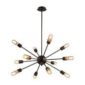 12-Light Industrial Style Chandelier Kitchen Pendant