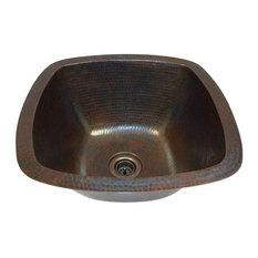 "5"" Rounded Edge Square Copper Bar Kitchen Prep Sink 2"" Drain Included Dual Mount"