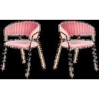 Modrest Brandy Modern Pink Fabric Dining Chair, Set of 2