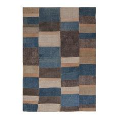 Kelim Grid Handwoven Rug, Teal and Brown, 180x255 cm