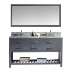 60-inch Double Bath Vanity In GreyMarble TopRound SinkFaucetMirror