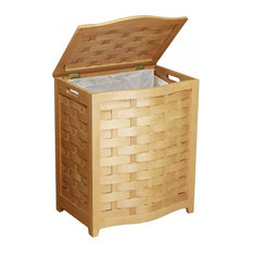 Natural Finished Bowed Front Veneer Laundry Wood Hamper With Interior Bag