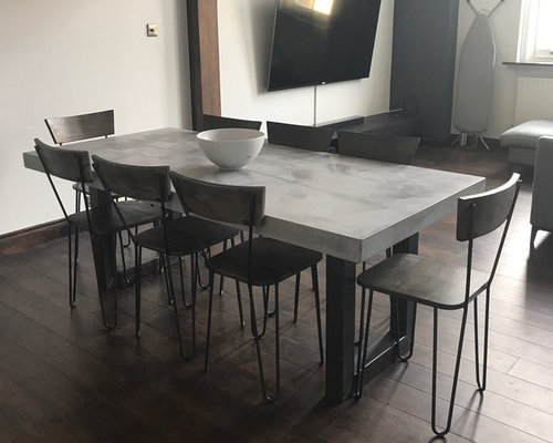 Extendable Light Grey Polished Micro Concrete Dining Table
