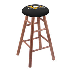 Maple Counter Stool Medium Finish With Pittsburgh Penguins Seat 24-inch