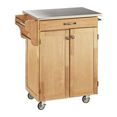 Home Styles Furniture   Draper Cuisine Cart, Natural, With Stainless Top   Kitchen  Islands