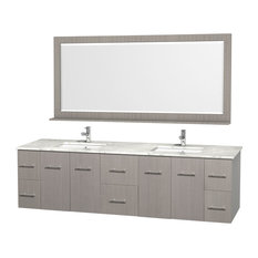 "Wyndham Collection 80"" Centra Gray Oak Double Vanity With Square Porcelain Sink"