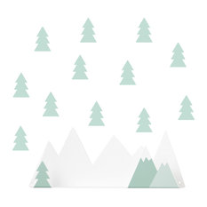 Children's Mountain Wall Shelf With Forest Adhesives Kit, Mint