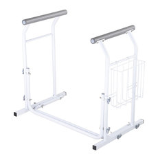 YesHom - Stand Alone Toilet Safety Frame Handrail Bar 375Lbs Padded, Magazine Rack - Toilet Safety Accessories