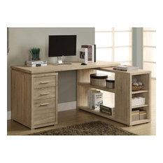 Monarch Adjustable Corner Computer Desk in Natural