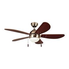 "Prescott 42"" Ceiling Fan, Satine Nickel, Dark Walnut Blade, Frosted Glass"