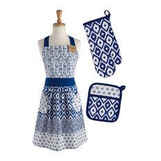 Blue Market Chef, Set, Includes apron, potholder, and oven mitt