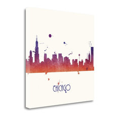"""""""Sunset Chicago - Sq."""" By Anna Quach, Giclee Print on Gallery Wrap Canvas"""