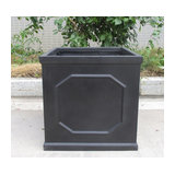 Faux Lead Chelsea Box Square Dark Grey Light Stone Planter W37 H38 L37 cm
