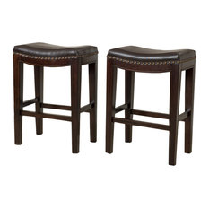 GDF Studio Jaeden Backless Stools, Set of 2, Brown Leather Counter Height