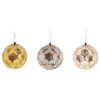 Vintage Style Round Ball Glass Ornament Set 6, Glitter Faceted Silver Pink Gold