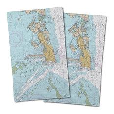 Key West, Fl Nautical Chart Hand Towels, Set of 2