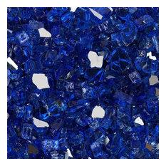 "1/2"" Reflective Tempered Fire Glass, Meridian Blue, 10 lb. Jar"