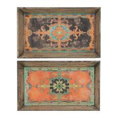 Large Rectangle Wooden Decorative Trays, 2-Piece Set