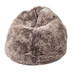 Shorn Icelandic Sheepskin Bean Bag, Taupe