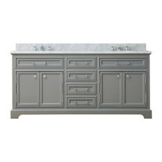 "Derby Cashmere Bathroom Vanity, 72"" Wide, No Mirror, No Faucet"