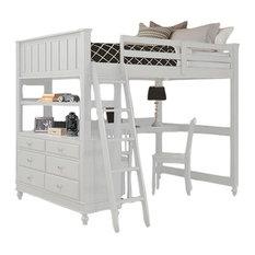 Boardwalk Full Study Loft Bed, White