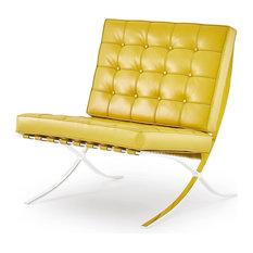 Modern Catalonia Lounge Chair, Yellow Genuine Italian Leather
