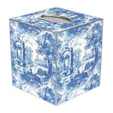 TB470-Blue Italian Toile Tissue Box Cover