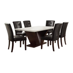 """36""""x59""""x30"""" White Marble And Walnut Dining Table"""