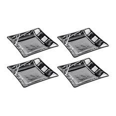 Thomas Mosaic Square Glass Plates, Black and White, Set of 4