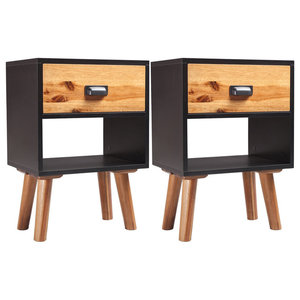 vidaXL Solid Acacia Wood Bedside Cabinets, 40x30x58 cm, Set of 2
