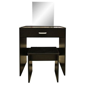 1-Drawer Dressing Table Set with Square Mirror and Stool, Black